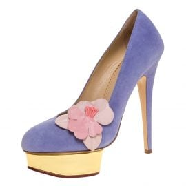Charlotte Olympia Blue Suede Dolly Orchid Platform Pumps Size 39