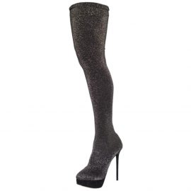Charlotte Olympia Glitter Stretch Fabric Stocking Thigh High Boots Size 38