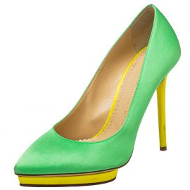 Charlotte Olympia Green Satin Dotty Pointed Toe Pumps Size 39.5
