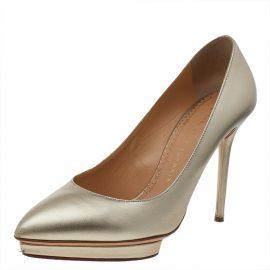 Charlotte Olympia Metallic Gold Leather Monroe Pumps Size 39