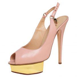 Charlotte Olympia Pale Pink Leather Bon Bon Platform Slingback Sandals Size 39
