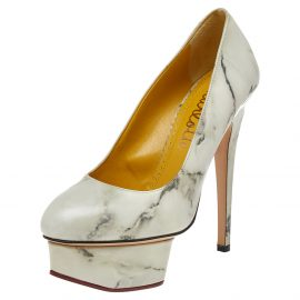 Charlotte Olympia White/Grey Marble Print Leather Dolly Platform Pumps Size 35