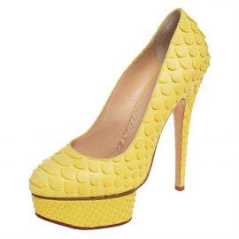 Charlotte Olympia Yellow Python Priscilla Platform Pumps Size 36