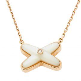Chaumet Jeux De Liens Mother of Pearl Diamond 18K Rose Gold Pendant Necklace
