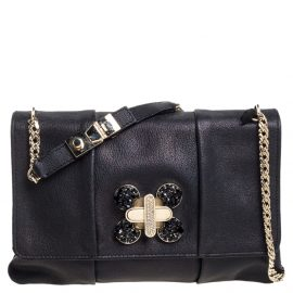 Chloe Black Crystal Embellished Leather Flap Shoulder Bag