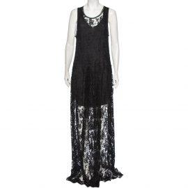Chloe Black Floral Lace Pleated Skirt Detail Robe Maxi Dress L