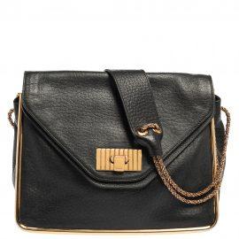 Chloe Black Leather Medium Sally Flap Shoulder Bag