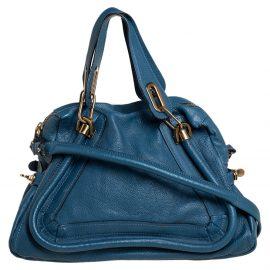 Chloe Blue Leather Medium Paraty Shoulder Bag