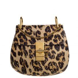 Chloe Brown/Beige Leopard Print Leather Mini Drew Shoulder Bag
