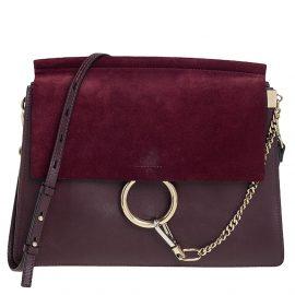 Chloe Burgundy Leather and Suede Medium Faye Shoulder Bag