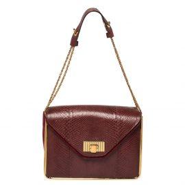 Chloe Burgundy Python and Suede Medium Sally Shoulder Bag