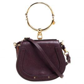 Chloe Dark Burgundy Leather and Suede Small Nile Bracelet Shoulder Bag