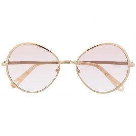 Chloé Eyewear round frame tinted sunglasses - Gold