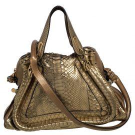 Chloe Gold Python and Leather Medium Paraty Shoulder Bag