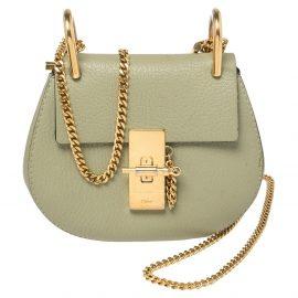 Chloe Green Grained Leather Nano Drew Shoulder Bag