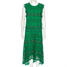 Chloe Green Guipure Lace Asymmetrical Hem Detail Midi Dress L