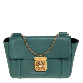 Chloe Green Leather Medium Elsie Shoulder Bag