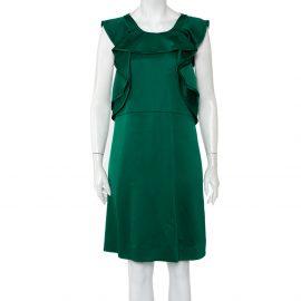 Chloe Green Wool & Silk Ruffle Detail Sleeveless Mini Dress M