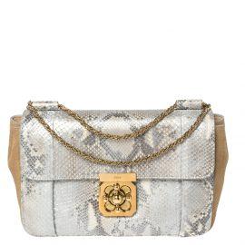 Chloe Grey/Brown Python and Leather Medium Elsie Shoulder Bag