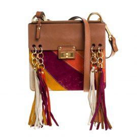 Chloe Multicolor Leather and Suede Small Jane Tassel Shoulder Bag
