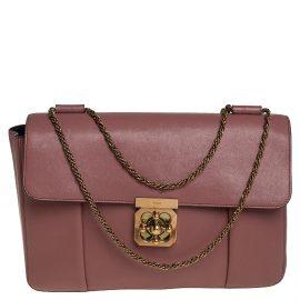 Chloe Old Rose Leather Large Elsie Shoulder Bag
