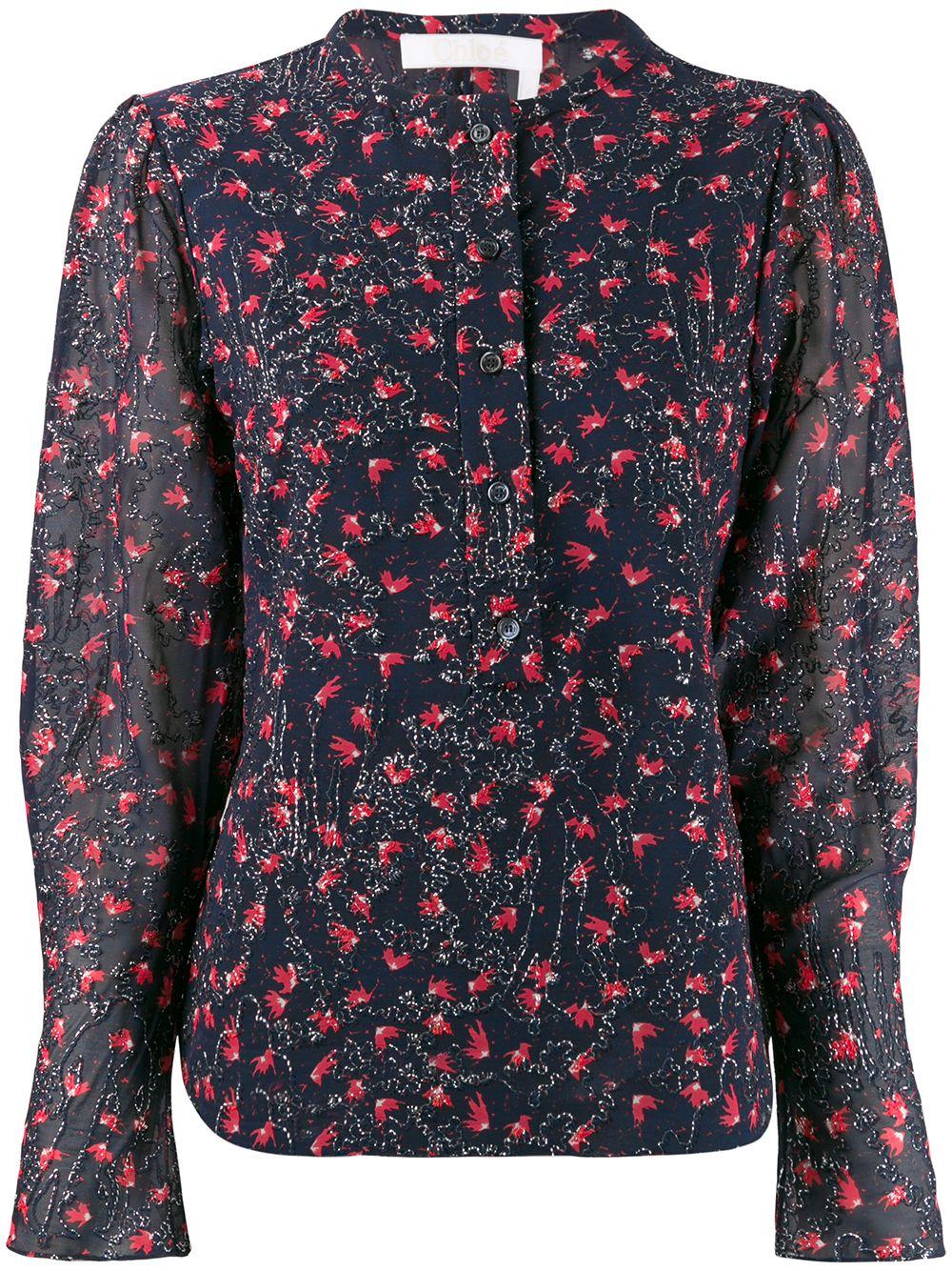 Chloé beaded floral blouse - Blue