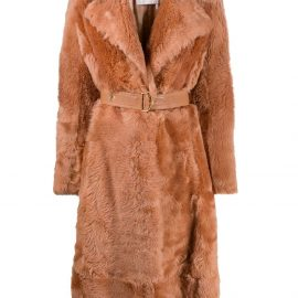Chloé belted shearling coat - Brown