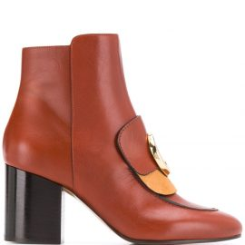 Chloé heeled C-logo boots - Brown