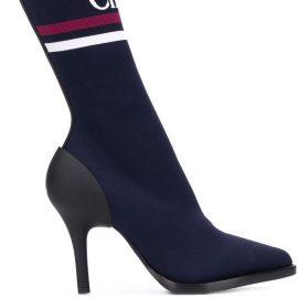 Chloé logo sock boots - Blue