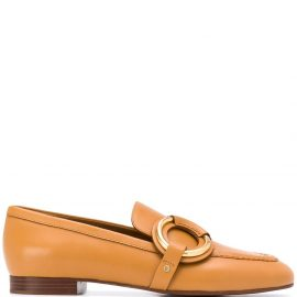 Chloé ring-detail loafers - Brown