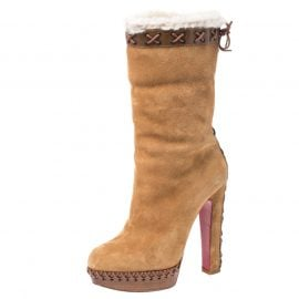 Christian Louboutin Beige Suede, Leather And Fur Trim Step N Roll Platform Boots Size 36.5