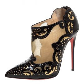 Christian Louboutin Black Patent Leather And Mesh Madolina Lazer Cut Ankle Booties Size 38