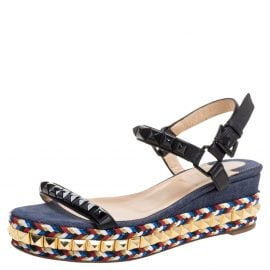 Christian Louboutin Black Studded Leather Cataclou Espadrille Wedge Sandals Size 36