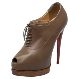 Christian Louboutin Brown Leather Miss Poppins Lace Up Peep Toe Platform Booties Size 40