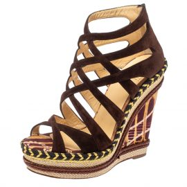 Christian Louboutin Brown Suede Caged Espadrille Tosca Wedge Platform Sandals Size 38