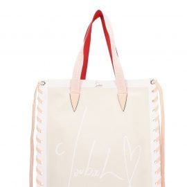 Christian Louboutin Cabalace Small Tote In Beige Fabric