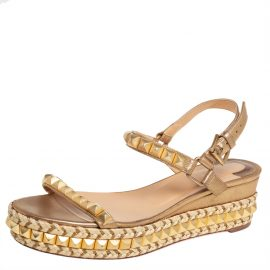 Christian Louboutin Metallic Gold Studded Leather Cataclou Espadrille Wedge Sandals Size 39