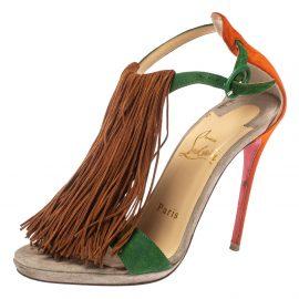 Christian Louboutin Multicolor Casanovella Fringe Sandals Size 35.5