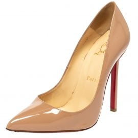 Christian Louboutin Nude Patent Leather Pigalle Pointed Toe Pumps Size 36.5