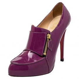 Christian Louboutin Purple Patent Leather Loafer Pumps Size 40