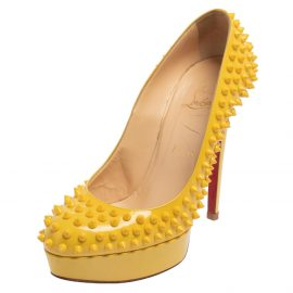 Christian Louboutin Yellow Patent Leather Bianca Spike Platform Pumps Size 39