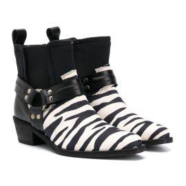 Cinzia Araia Kids zebra stripe Chelsea boots - Black