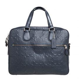 Coach Dark Blue Coated Canvas Hudson Slim Laptop Bag