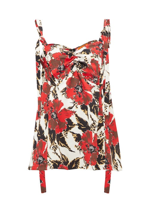 Colville - Shirred Floral-print Crepe Camisole - Womens - Red