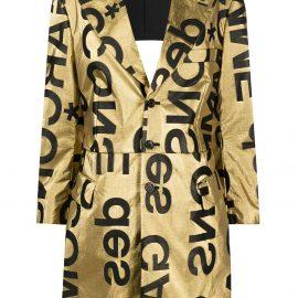 Comme Des Garçons logo-print cut-out blazer - GOLD