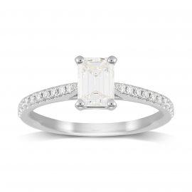 Constance Platinum Emerald Cut 0.84cttw Engagement Ring - Ring Size J
