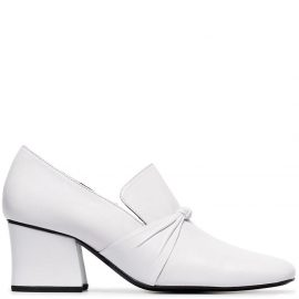 DORA TEYMUR Stewardess 65 leather knot loafer pumps - White