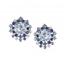Damiani 18ct White Gold Diamond Aquamarine and Sapphire Anima Stud Earrings