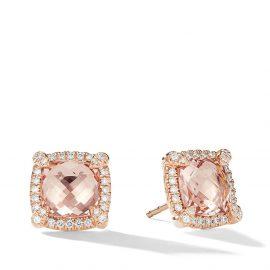 David Yurman 18kt rose gold Châtelaine diamond and morganite studs - D8RAMODI