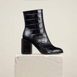 Dear Frances - Black Croc Print Leather Block Heeled Ankle Boots